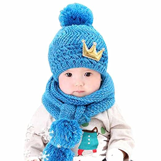 c8acdf22 Image Unavailable. Image not available for. Color: Baby Hats Boys Girls -  Kid Toddler Winter Warm Scarf Set Cute Knit Star ...