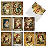 "'Picture Perfect Santas' Christmas Cards, Boxed Set of 10 Santa Claus Portrait Holiday Notes (Mini 4"" x 5.25""), Vintage-Looking Old Saint Nick & Kris Kringle in Antique Gilded Frames Cards #M1746XS"