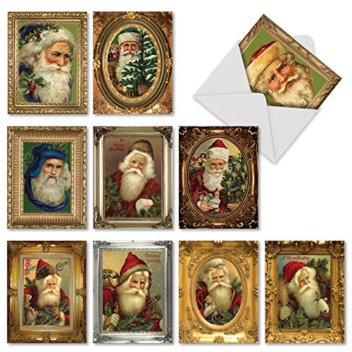 Picture Perfect Santas' Christmas Cards, Boxed Set of 10 Santa Claus Portrait Holiday Notes 4 x 5.12 inch, Vintage-Looking Old Saint Nick and Kris Kringle in Antique Gilded Frames Cards M1746XS