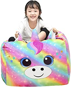 Play Tailor Unicorn Bean Bag Chair Cover for Kids, Stuffed Animal Storage Beanbag Chairs Large Soft for Girls Bedroom Organizers and Decoration (No Filler)