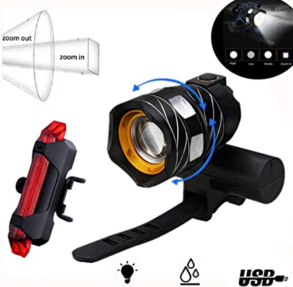 Luces de Bicicleta LED Recargable USB Delantera y Trasera Impermeable