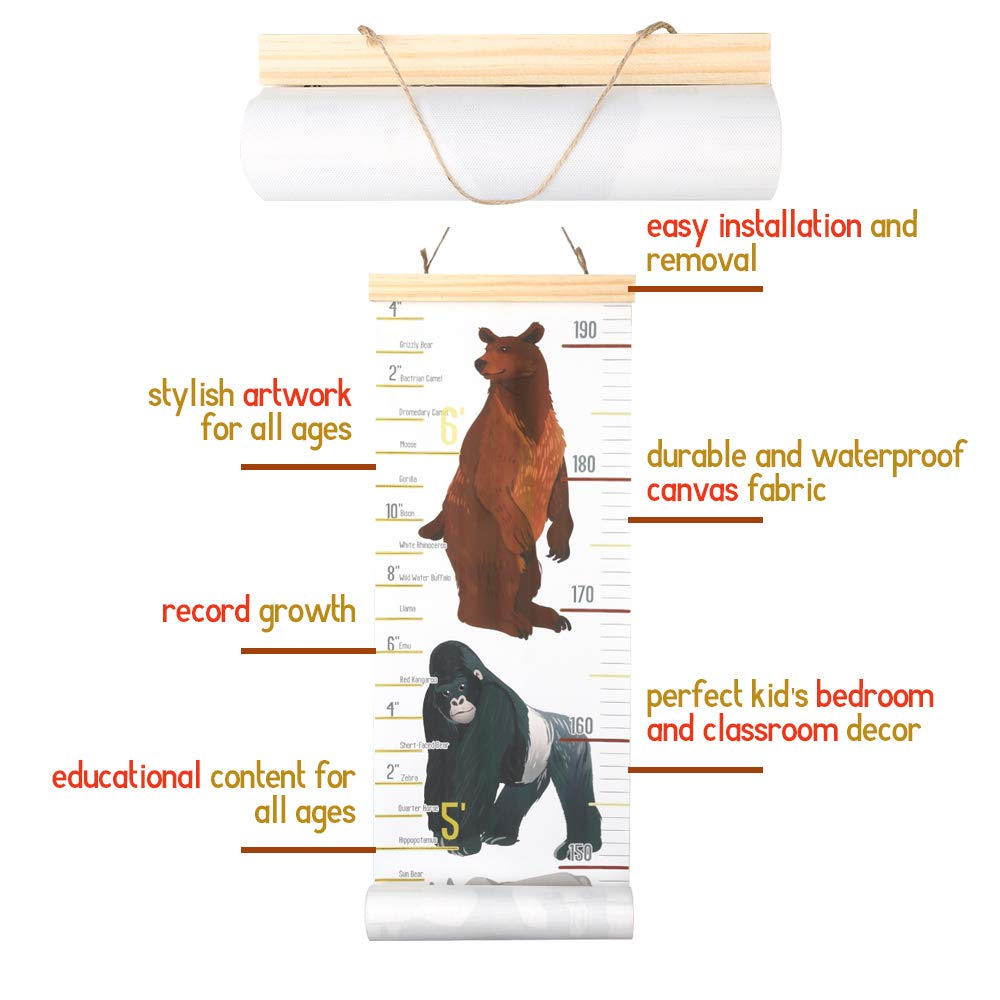 Decu Educational Height Chart Animal-Comparison Hanging Growth Chart for Kids Bedroom Decor