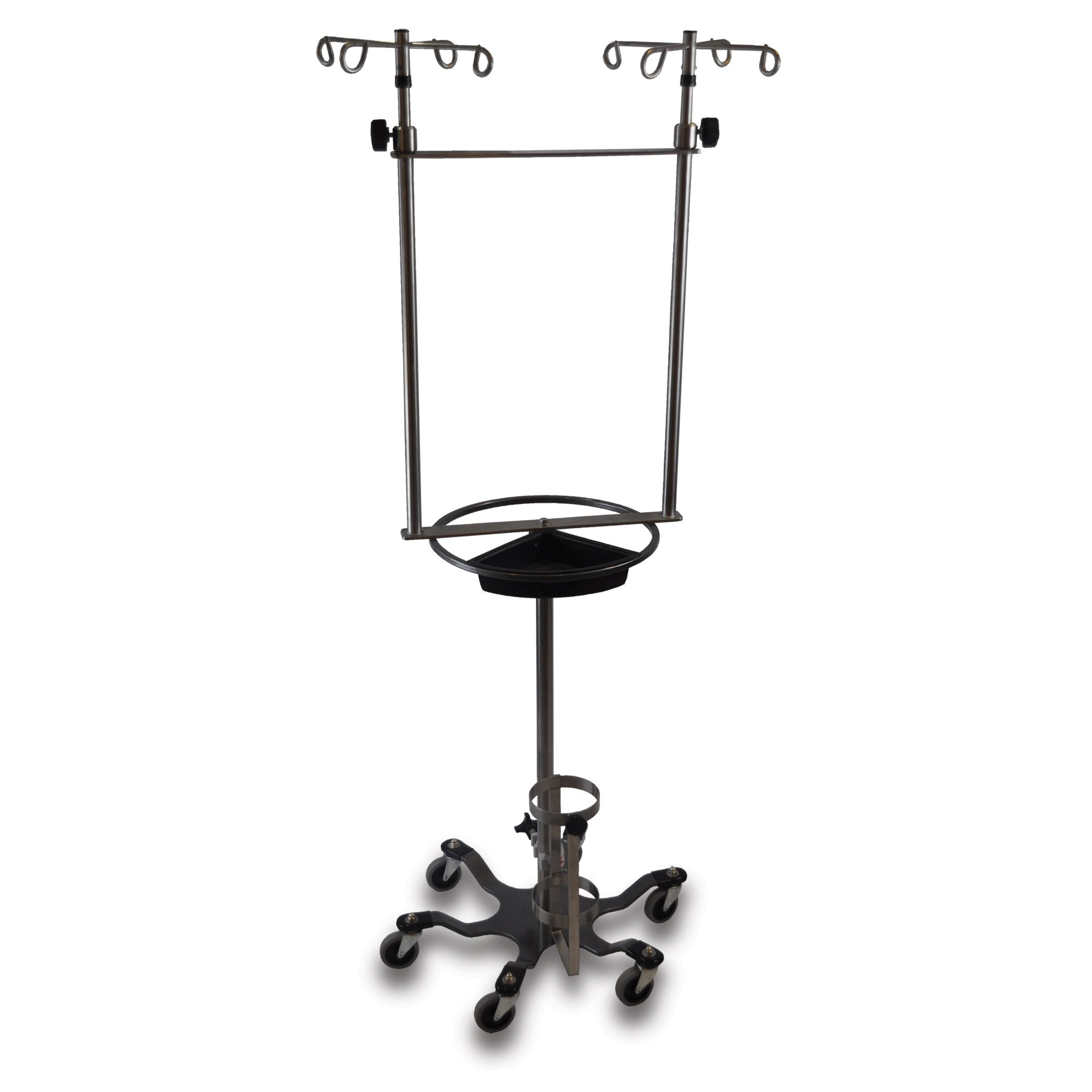 Stainless Steel Double IV Pole with Steering Wheel and Patient Tray