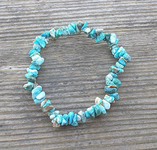 [A&S Crystals] NATURAL TURQUOISE Stone Gemstone Stretchy Chip Bracelet