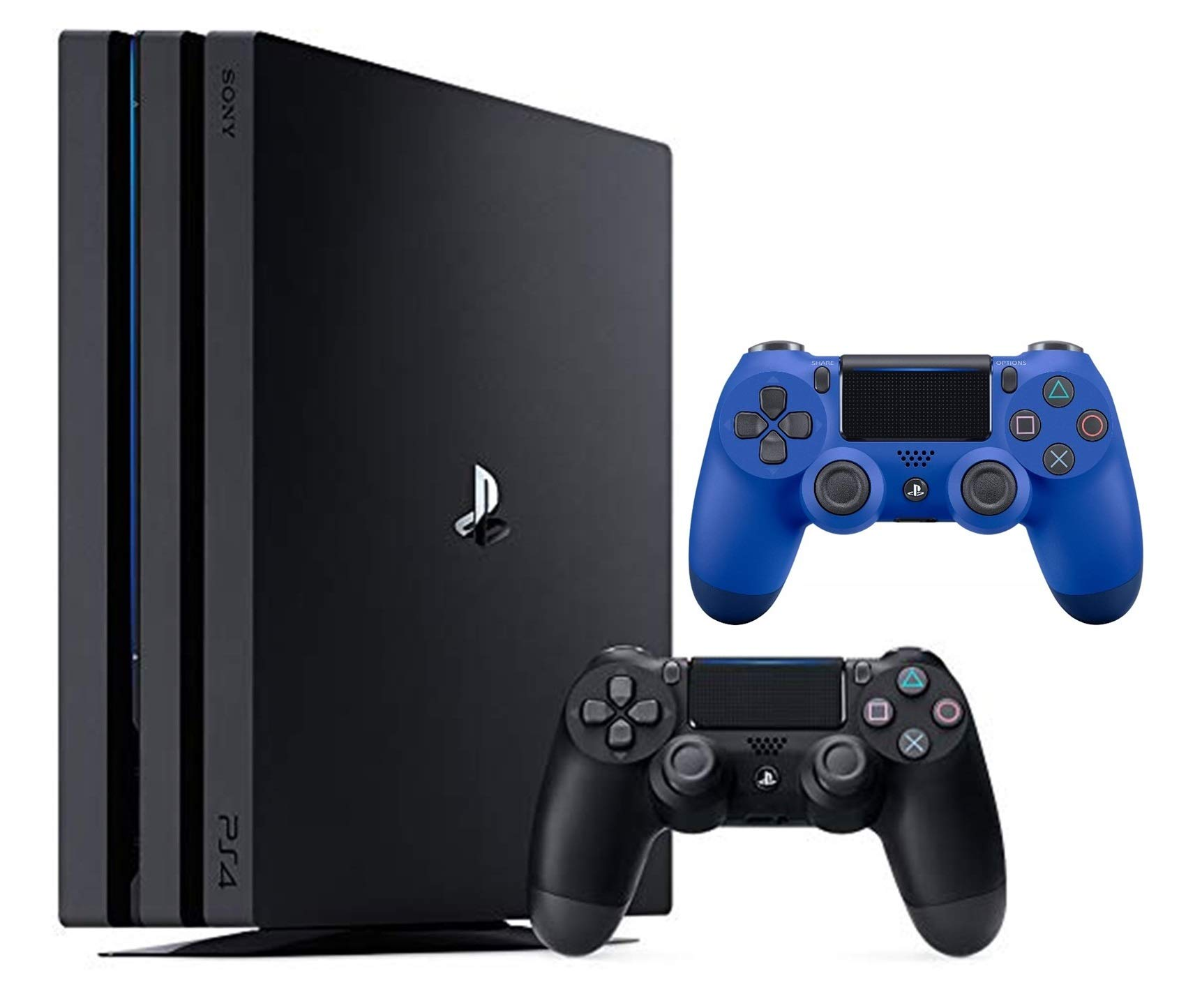 Sony PlayStation 4 Pro 1TB Two Controller Bundle: PlayStation 4 1TB Pro Console Jet Black, 2 DUALSHOCK 4 Wireless Controllers