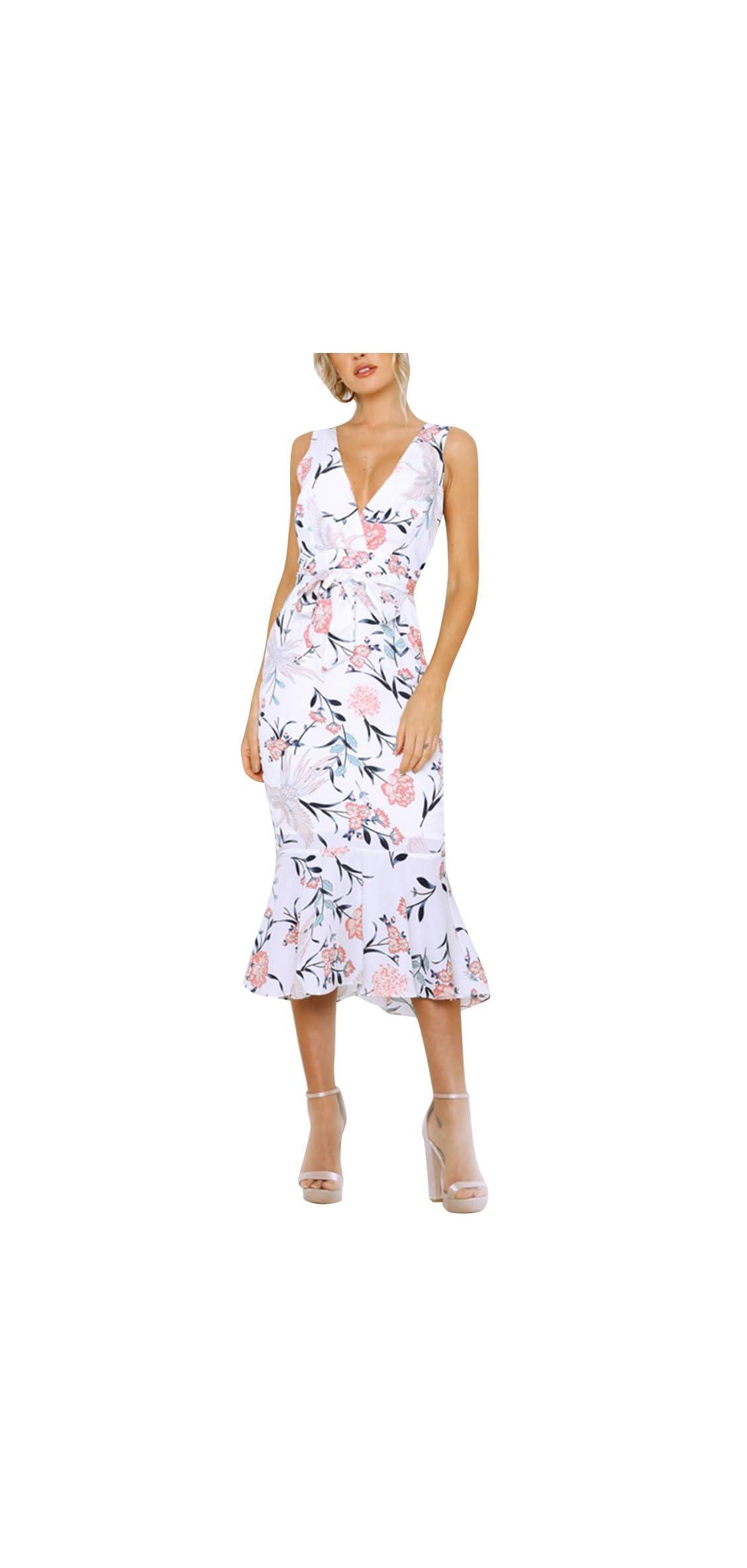 Women's Dress Summer Floral Print V-neck Sleeveless Midi