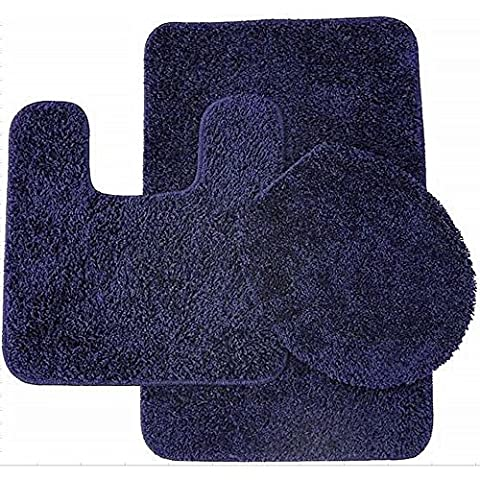 Sweet Home Collection 3 Piece Shag Bathroom Rug set Navy Bath Mat, Contour & Seat Cover,,Navy (Shag Rug Navy Blue)