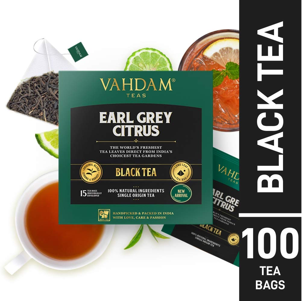 Earl Grey Tea Bags | Black Tea Bags 100 Count | Black Tea blended with Natural Oil of Bergamot | Packed at Source
