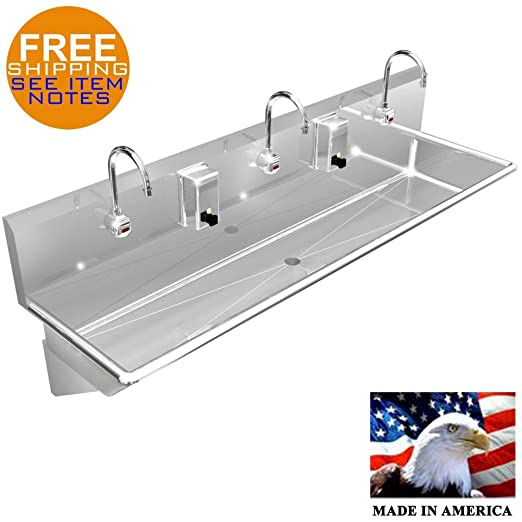 Wash Up Hand Sink 3 Users Multi Station 60 Elec Faucet Stainless Steel Heavy D Industrial Scientific