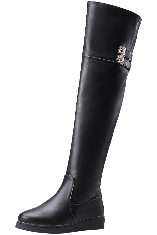 Overknee Stiefel Damen Herbst Winter Blockabsatz Casual Kunstleder Reißverschluss Bequem Über Knie Stiefel Von BIGTREE Schwarz 34 EU qsoGK