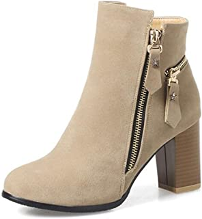 Women's Retro Round Toe Side Zipper Faux Suede Bikers Ankle Boots With Mid Chunky Heels