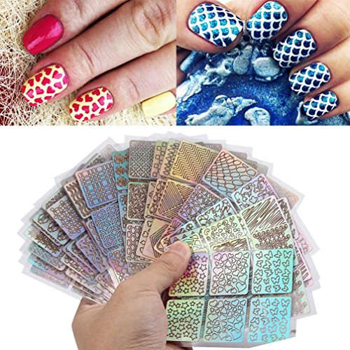 Nail Stickers,Nail Art Stickers,24 Sheets New Nail Hollow Irregular Grid Stencil Reusable Manicure Stickers Stamping Template Nail Art Tools Makaor (9cmx7cm, Colorful)