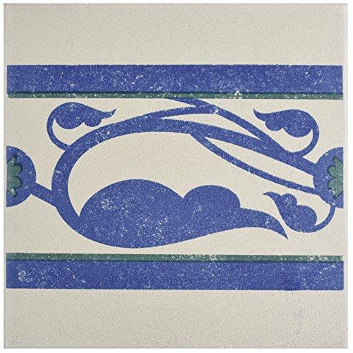 Deco Border Tile Flooring - SomerTile FNU7CQDF Zementu Quatro Deco Porcelain Floor and Wall Border Tile, 7