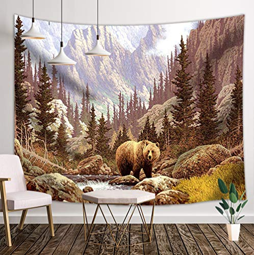 JAWO Brown Bear Tapestry Wall Hanging, Wild Animals Brown Bears in Mountain Pine Forest River Oil Painting Wall Tapestry Home Decoration Wall Decor Art Tapestries for Bedroom Living Room College Dorm