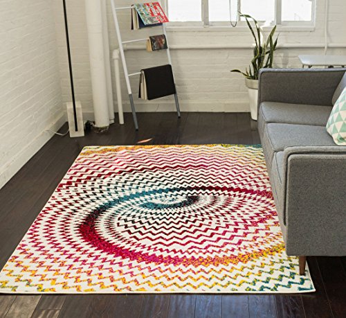 Warp Multi Chevron Red Blue Yellow Green Zigzag Modern Abstract 3D Area Rug 5 x 7 ( 5'3