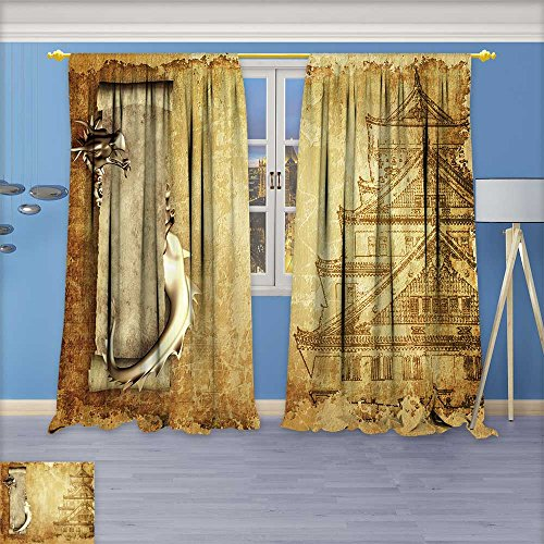 (Antique Decor Collection, Grunge background with dragons and scrolls of old parchment,Living Room Bedroom Curtain 2 Panels Set, 120W x 108L Inch)