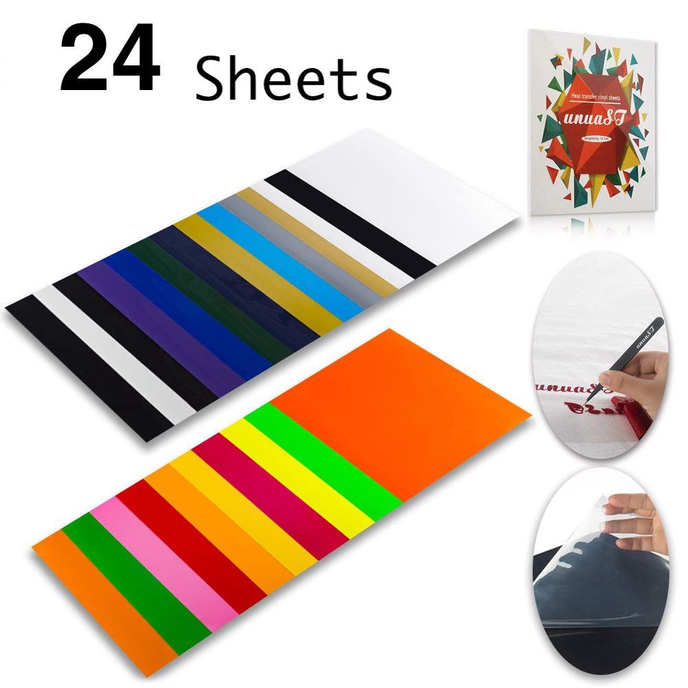 """Heat Transfer Vinyl HTV Bundle Variety Pack Assortment for T Shirts Fabric 12x10"""" 24 Sheets Iron On Vinyl Colored Starter Kit for Silhouette Cameo and Cricut Bonus 1 Weeding Tweezers"""