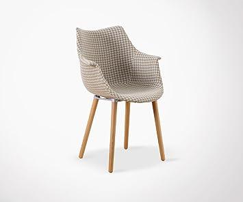 Design Sessel Stoff Pied De Poule Mitch Jaune+Blanc