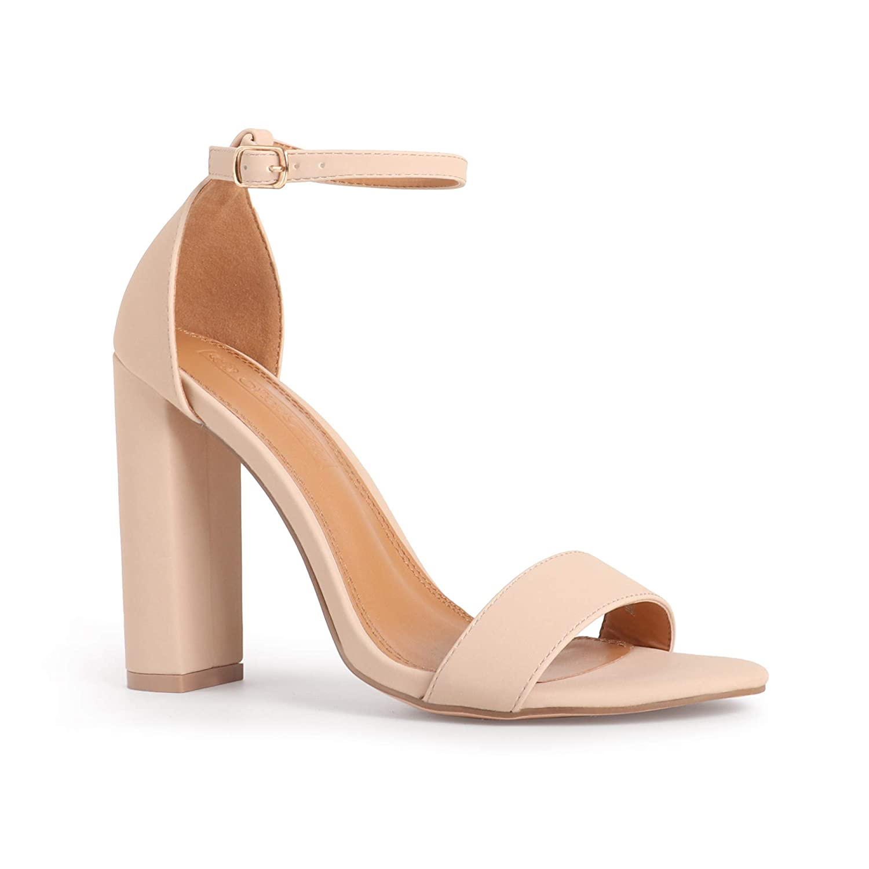 Women/'s Chunky Block High Heel Sandals Open Toe T-strap Wedding Party Dress