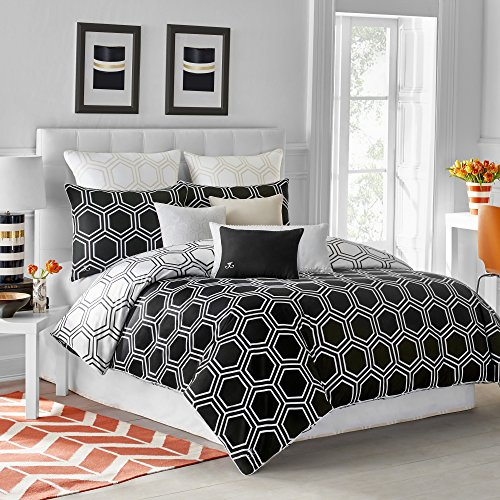 - Jill Rosenwald Blackpoint Hex Twin Black Onyx Comforter Set