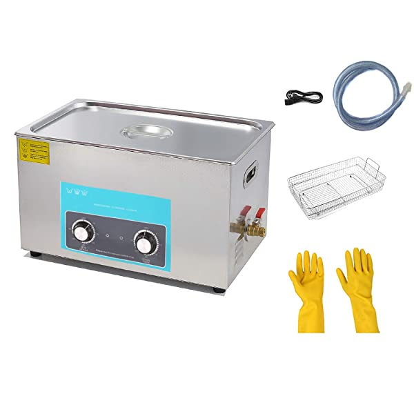 30L/7.9Gallon Knob Ultrasonic Cleaner (600W+500W) with Heater for Metal Parts, Carburetor, Fuel Injector, Brass, car Parts, Engine Parts, Motor Repair Tools