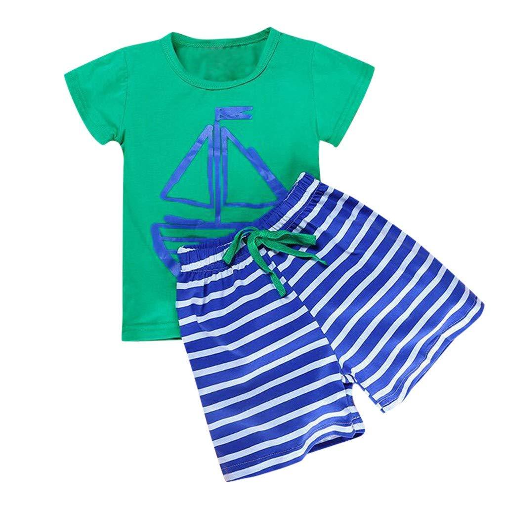 Tophappy Tute Bambino Estate Autunno 1-5 Anni Completo Bambini 2 Pezzi Set Maglietta Shirt Tops Manica Corta Stampa Pesce Striscia Coulisse Pantaloncini Cotone Tuta Ragazzi Ragazzo