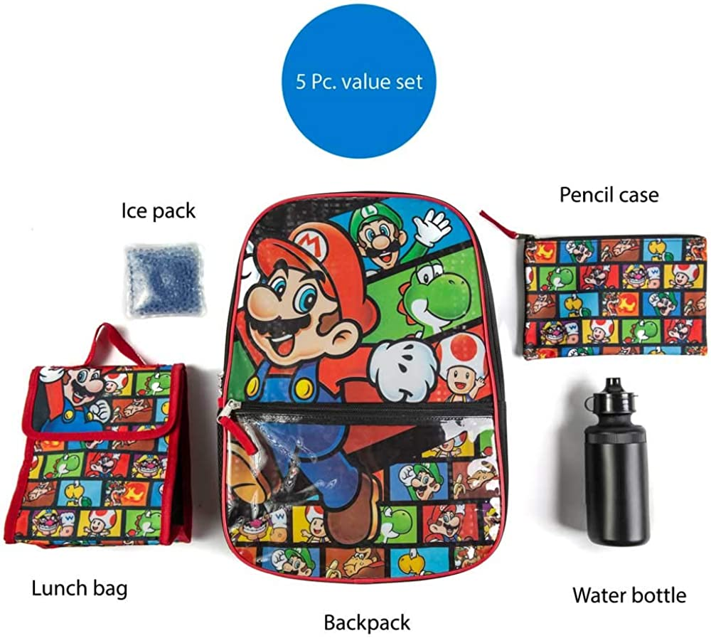 Super Mario Backpack with Lunch Box Set for Boys /& Girls 5 Piece Value Set 16 inch