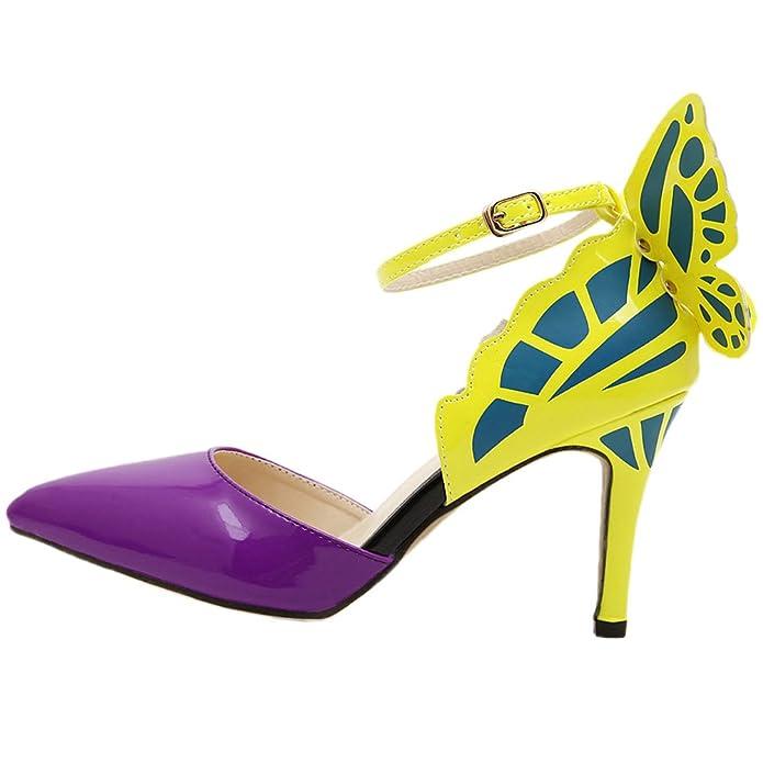 HooH Damen Pumps Spitz Zehe D'Orsay Schmetterling Ankle Strap High Heels Violett 35 EU k7n6PYNv