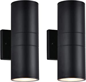 """Outdoor Wall Lights 2 Pack, Exterior Wall Sconces Set of Two, Black Up Down Square Waterproof Wall Lamp Fixture for Garden Patio Porch Yard Garage, E26 Base,Height 11.8""""."""