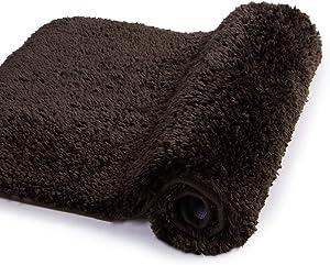 Walensee Bath Rug for Bathroom Non Slip Bathroom Mat (20 x 32, Brown) Water Absorbent Soft Microfiber Shaggy Bathroom Rug Machine Washable Bath Mat for Bathroom Thick Plush Shower Mat