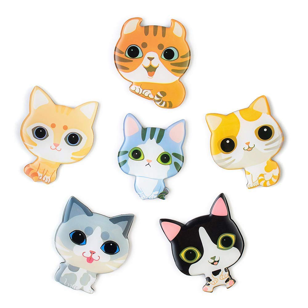 Cat Magnets for Refrigerator 6PCS Epoxy Resin Decorative Fridge Magnets Set Cute Funny Decoration Locker Kitchen Office Whiteboards etc Suitable for Kids Toddlers and Adults (Cartoon Cat)