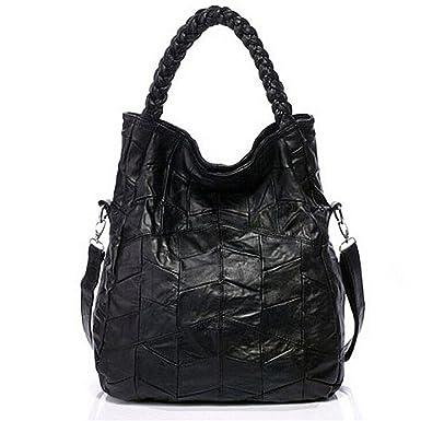 4d2bb49442645 DokinReich Fashion Mode Damen Handtasche Leder Damentasche Schultertasche  Handbag Damentasche Schwarz Tote Bag Armband Handtaschen  Amazon.de   Bekleidung