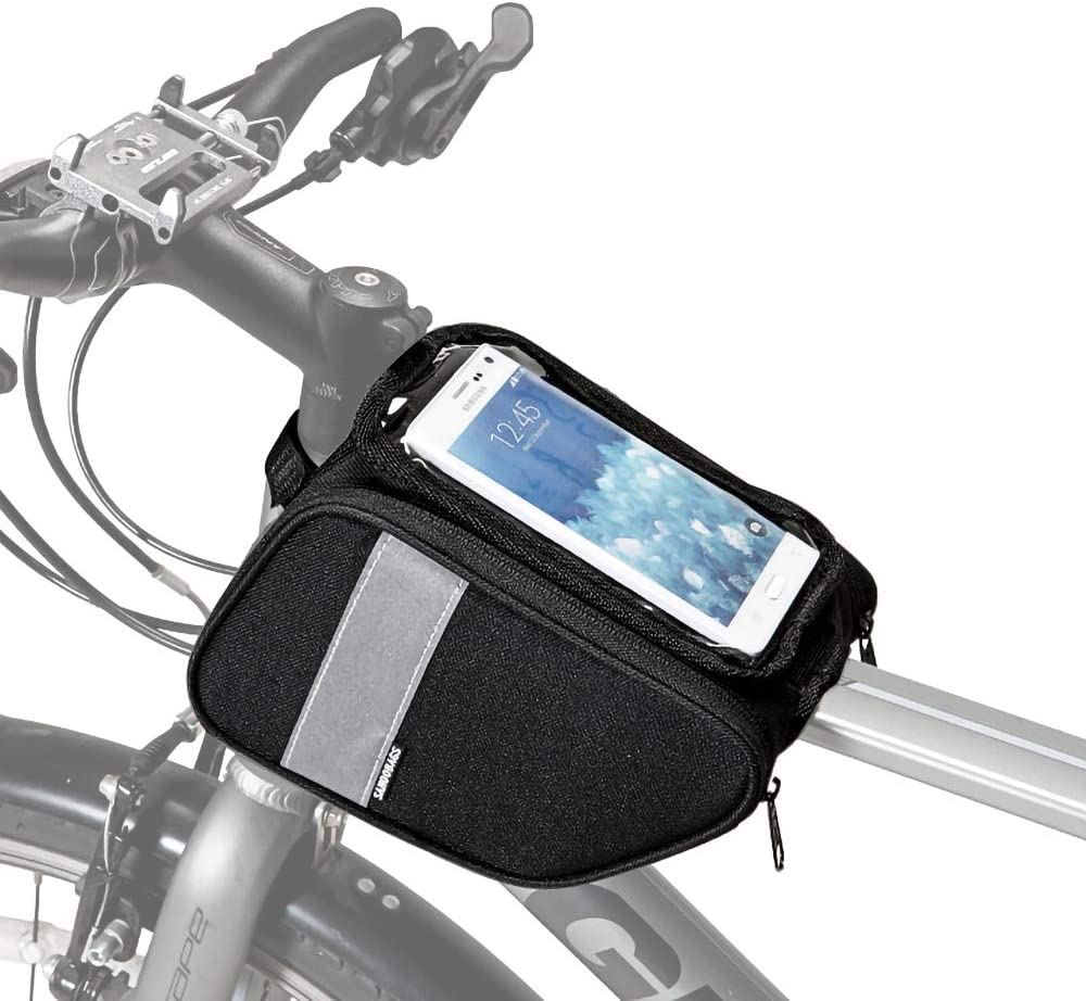 Amazon Com Allnice Bike Frame Bag Top Tube Bags Waterproof Handlebar Bag Front Frame Pannier Packs With Touch Screen Cycling Phone Pouch For Cellphone Below 6 28 In Sports Outdoors