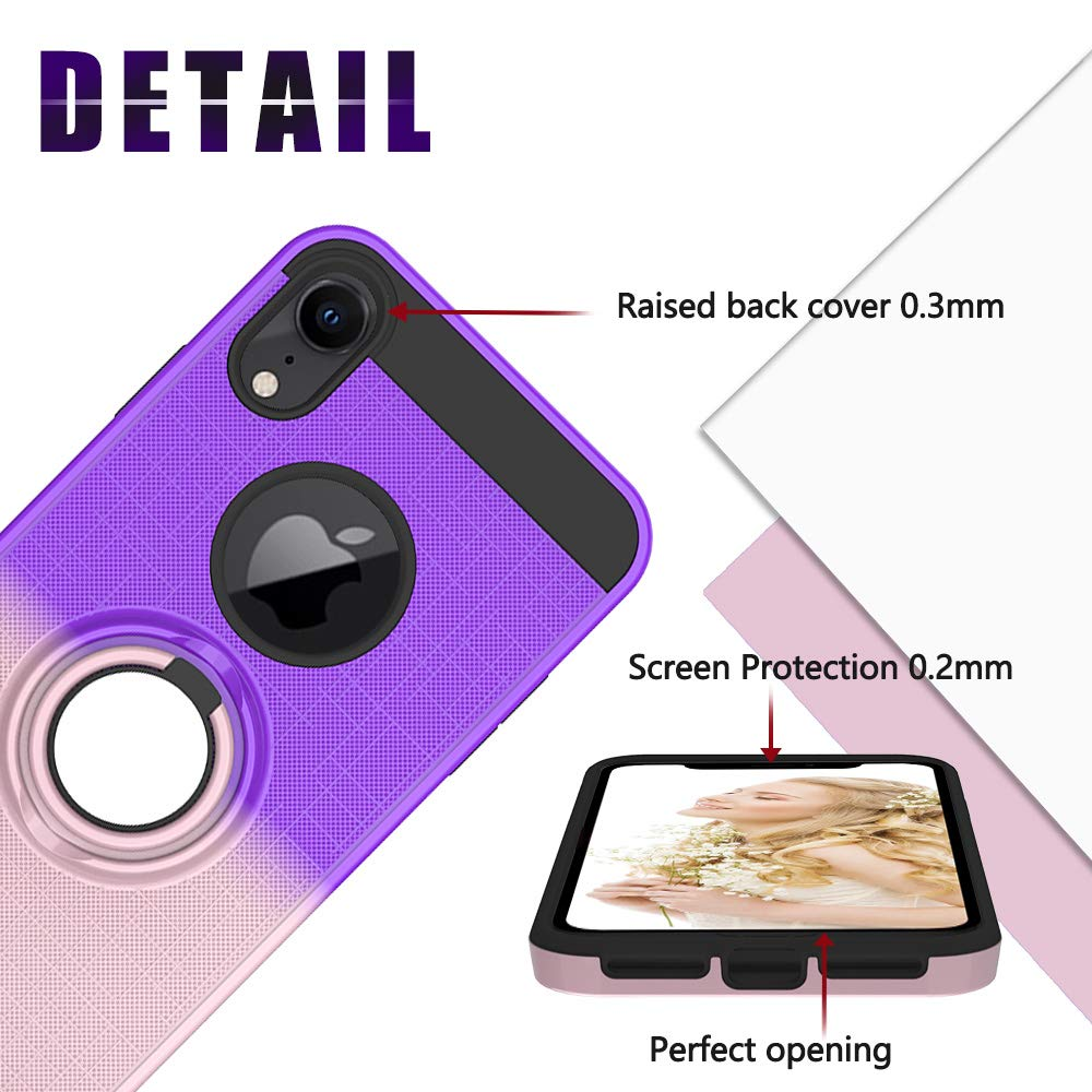 FAWUMAN Funda para iPhone XR(6.1 Inch) Soft TPU Duro PC Doble Parachoques Cubierta con a Anillo Soporte,Dise/ño Antideslizante de Red de Pesca 3D(P/úrpura-Oro Rosa)