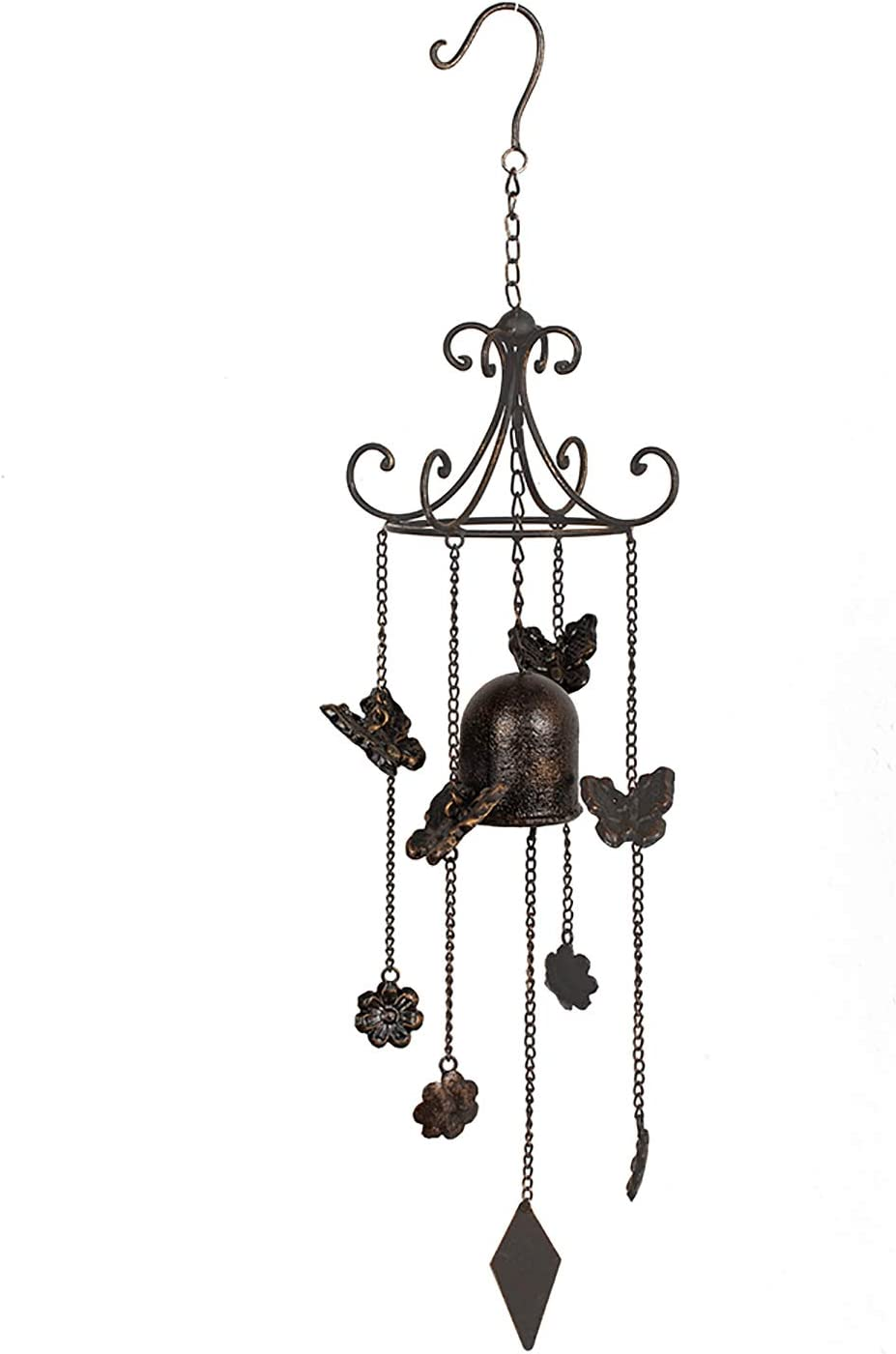 MOCOME Butterfly and Flowers Wind Chime with Bell, Outdoor Cast Iron Windchimes Heavy Duty, Antique Hanging Decor for Garden,Yard,Patio((Black,Copper)