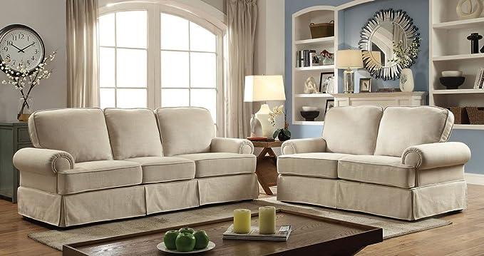 Amazon.com: Badalona I Beige Linen-like Fabric Loveseat by ...