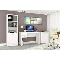 Conjunto Home Office CB01 com Escrivaninha, Armário Alto e Armário Baixo Casa da Mobília - Branco