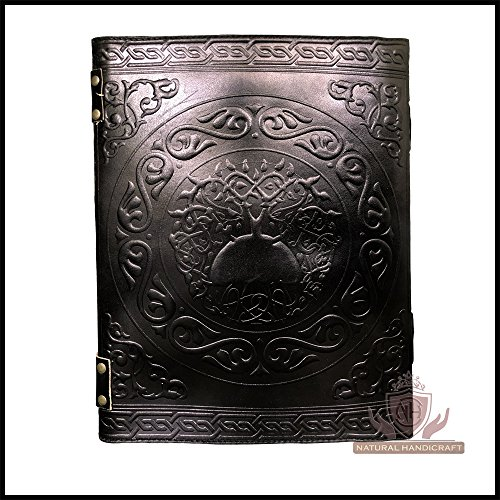 Handmade Black Pentagram Embossed Leather Journal Pentacle Book of Shadows Notebook Diary Appointment Organizer Daily Planner Office Diary Wicca Pagan 10 x 13 inches by Natural Handicraft (Image #2)