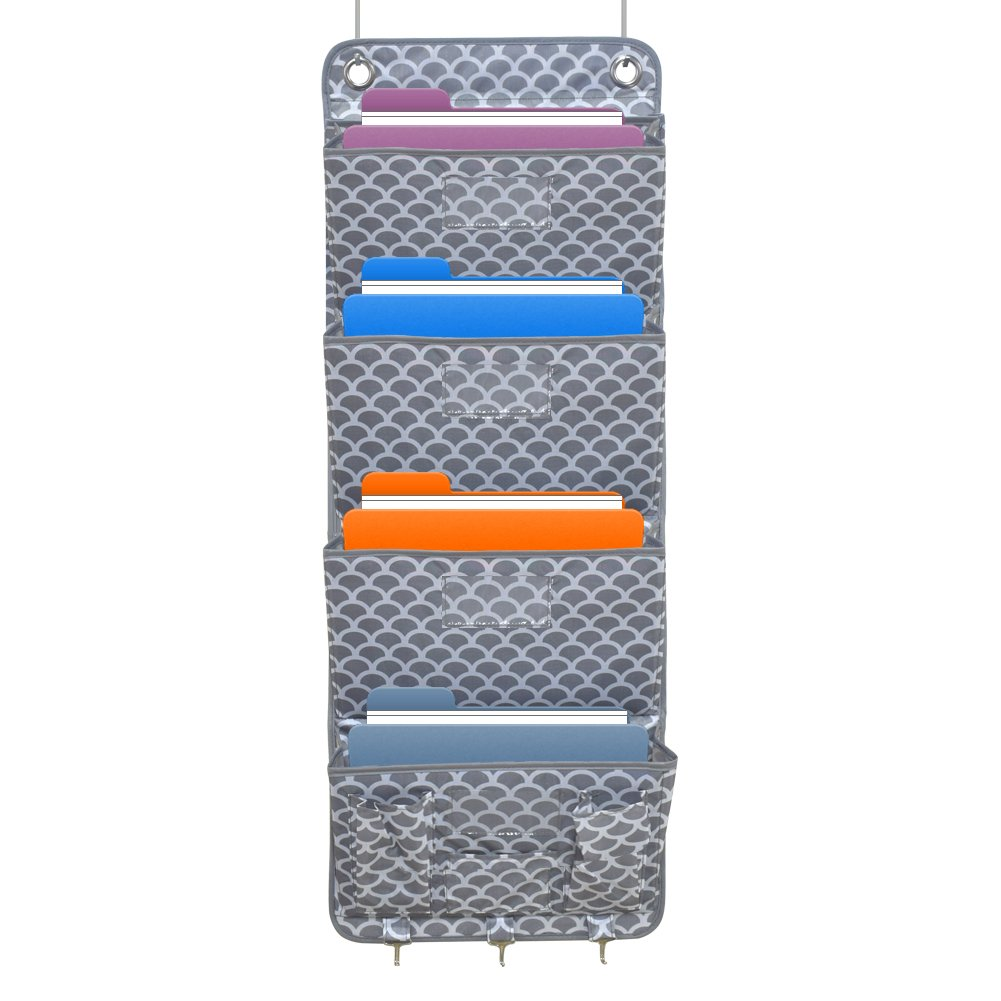Boanv Hanging Wall organizer offers 7 sturdy pockets for organizing notebooks, folders and office paper on office desks.Family space organization -7 mesh bags (grey)