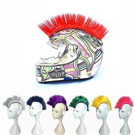 Welltobuy Mohawk Style Helmet Hair Colorful Cockscomb Modelado Peluca Halloween Motocicleta Casco Peluca Fibra química
