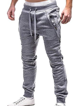 Hellomiko Pantalones de Bolsillo con Cremallera de algodón para ...