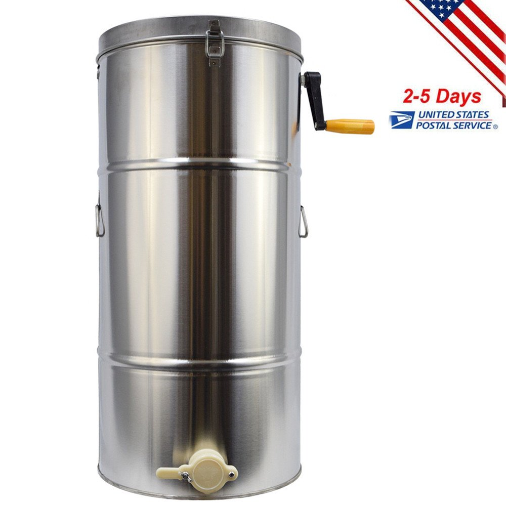 Funwill Shipping from USA Two 2 Frame Stainless Steel Bee Honey Extractor Honeycomb Drum Fits Shallow, Mdium and Deep Frames Tank Warm Soapy Water Equipment Machine Set by Funwill (Image #1)