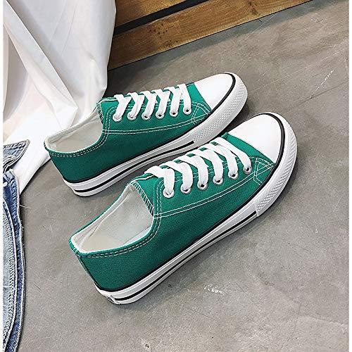 ZHZNVX Fall Green Mujer Flat Canvas Vulcanized Azul Sneakers Rojo Heel Verde Shoes Zapatos de rfpqIrF