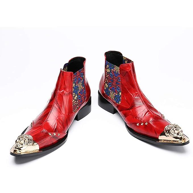 GIYL Mens Stivali da Cowboy, Martin Stivali, Occidentali