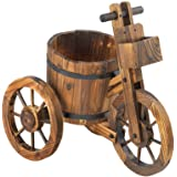 Koehler Home Decorative Barrel Potted Tricycle Charming Plant Holder Wagon Wheel Outdoor Garden Patio Planter