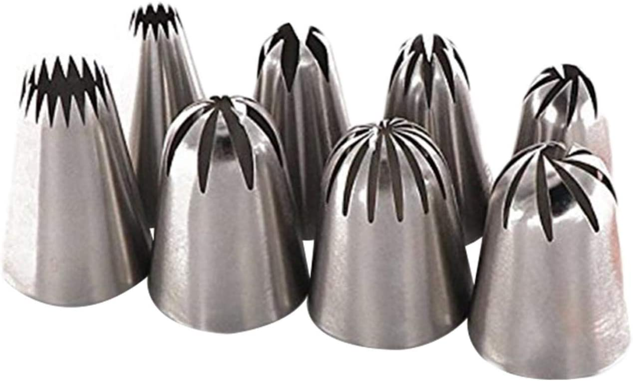 Nogan Decorating Mouth Tips Set 8 PCS Set Of Decorating Mouth Set 304 Food Grade Stainless Steel Material To Ensure Nontoxic And Harmless Safe And Reliable dependable