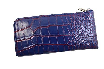 22e2a9b65fb0 クロコダイル 財布 本革 メンズ レディース L字ファスナー クロコダイル 長財布 目地染め ブルー