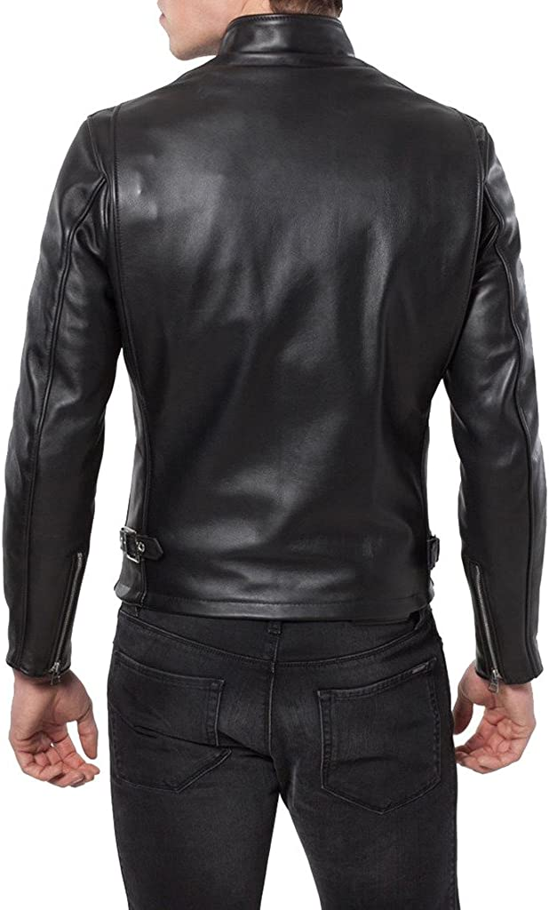 Mens Genuine Cow Leather Jacket Slim Fit Motorcycle Jacket LTC163