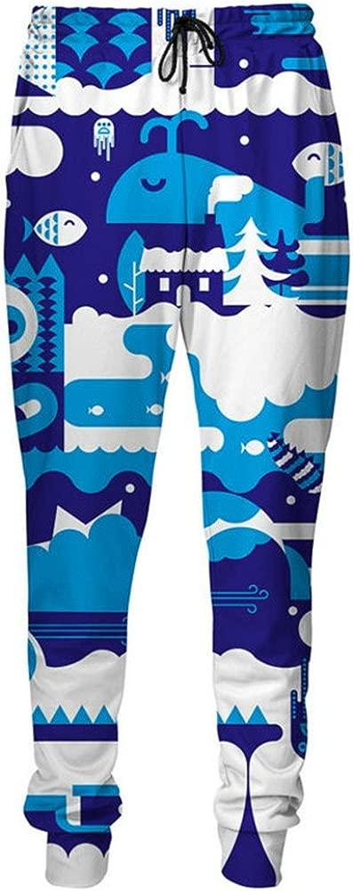 Pantalones de chándal Azul Profundo del mar Blanco Vivo Patrones ...
