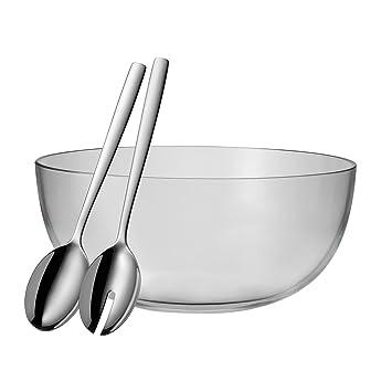 WMF ensalada 3 piezas taverno Tazón Vidrio Ø 30cm CUBIERTOS PARA ENSALADA 30cm cristal acero inoxidable Cromargan INOXIDABLE apto para lavavajillas: ...